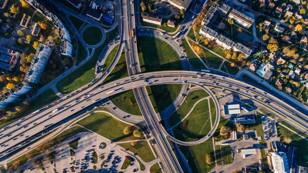 aerial view of a highway interchange in a city